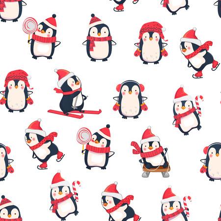 Nahtloses Muster mit Pinguinen. Niedliche Pinguinkarikaturillustration. Tiermuster. Freizeitaktivitäten im Winter. Vektorgrafik