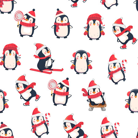 Seamless pattern with penguins. Cute penguin cartoon illustration. Animals pattern. Leisure activities in winter.
