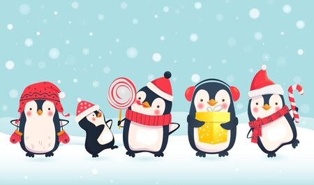 Penguins cartoon illustration. Christmas penguin characters. Winter concept