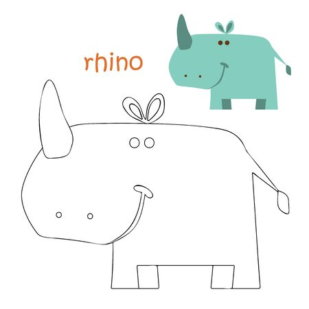 Coloring book animal. Kids coloring pages. rhino