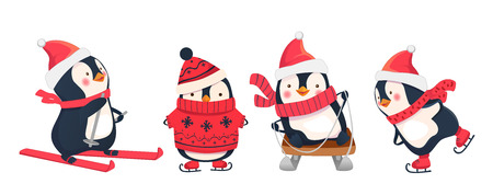 Leisure activities in winter. Winter sports illustration. Penguin