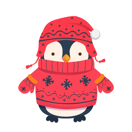 Penguin cartoon illustration. Winter clothes for children. Illustration