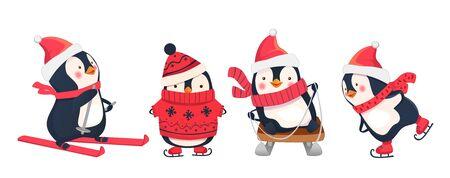 겨울 레저 활동. 겨울 스포츠 그림입니다. 펭귄