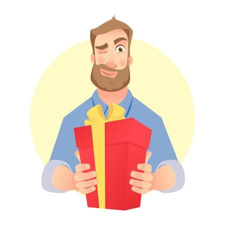 Don de l'homme. Homme tenant la boîte de cadeau rouge. Illustration