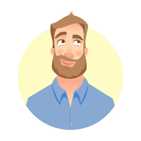 A Dreaming man. Face of man with beard Illustration