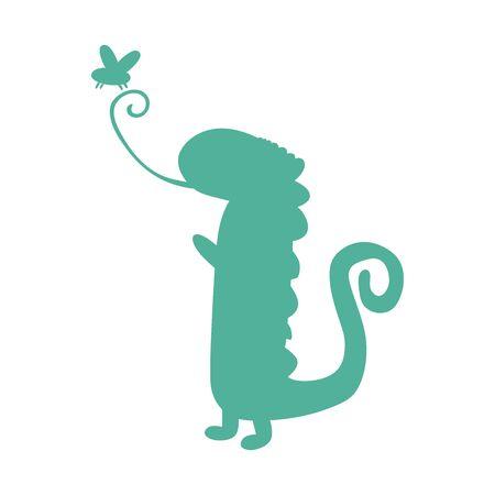 イグアナのシルエットアイコン。●野生動物シルエットベクトルイラスト。