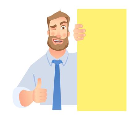 Businessman holding blank banner. Man show thumb up Illustration
