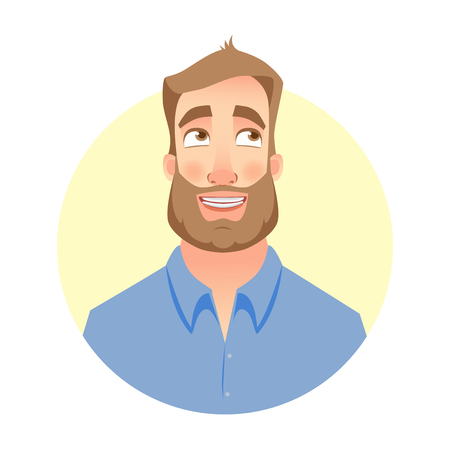 Dreaming man. Face of man with beard Illustration