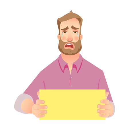 Man holding blank paper. Man showing empty paper