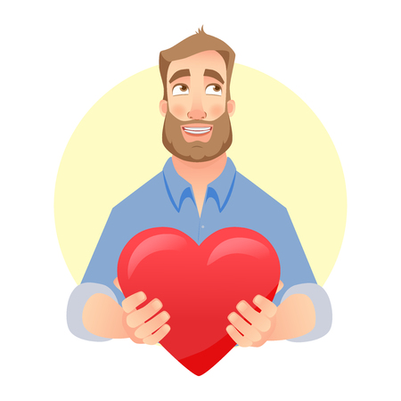 Man gives heart. Red heart on man hand illustration.