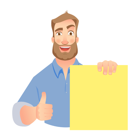 Man holding blank banner. Man show thumbs up Vettoriali