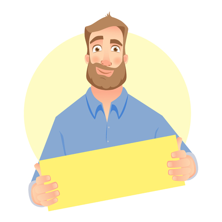 Man holding empty paper. Man with empty sheet of paper Illustration