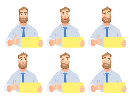 Businessman holding blank sign set. Thumb up vector