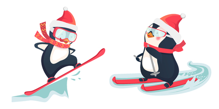 Penguin riding on skis on snow. Snowboarder at jump. Penguin vector illustration. Illustration
