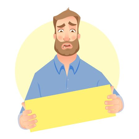Man holding blank signboard. Businessman showing blank board. Vector illustration.
