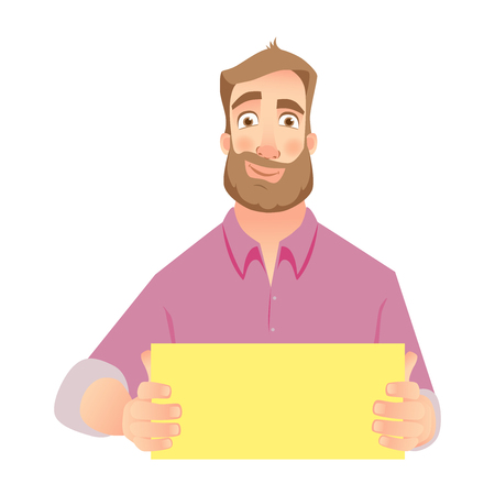 Man holding blank paper. Man with empty sheet of paper Illustration