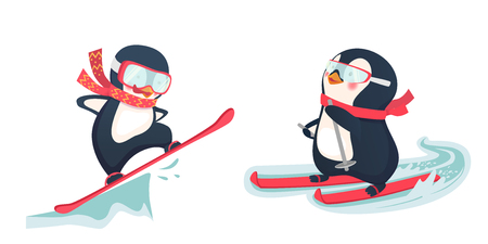 Penguin snowboarder at jump. Penguin riding on skis on snow. Winter sports vector illustration.  イラスト・ベクター素材