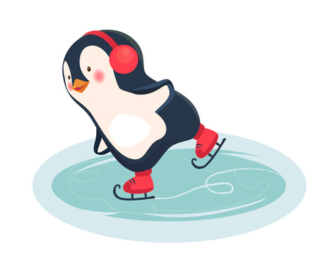 Penguin cartoon. Penguin ice skates on ice skating rink in the winter vector illustration.