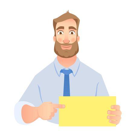 Man holding blank banner. Man pointing at blank poster vector set. Illustration