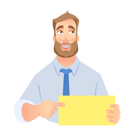 Man pointing at blank poster. Young smiling man holding blank sheet of paper for advertising. Vector set