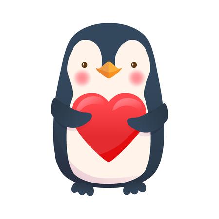Pingouin avec coeur. Illustration vectorielle de dessin animé pingouin. Vecteurs
