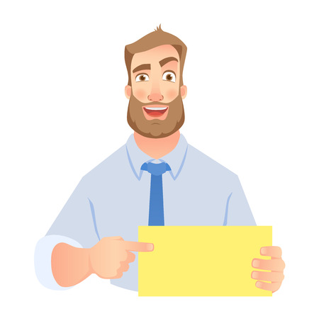 Businessman holding blank sign. Hand holding card. Man pointing at blank poster. . Vector set