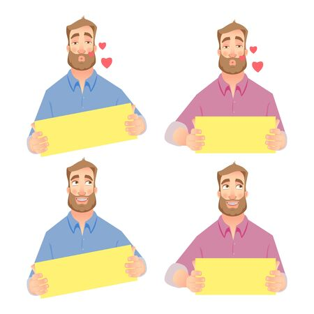 Man in love. Businessman holding blank sign. Set vector illustration