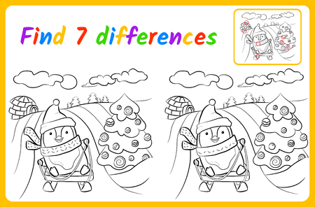 Find differences for kids. Education game for children. spot the difference. Sledging vector illustration
