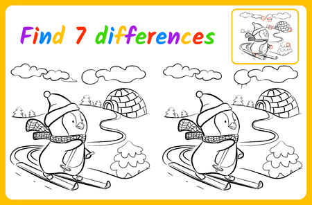 Find differences for kids. Education game for children. spot the difference. Skier vector illustration