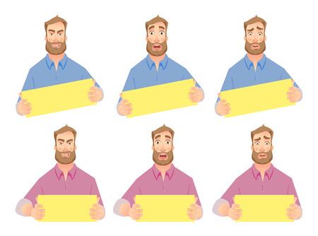 Angry businessman. Businessman holding blank sign. Set vector illustration. Illustration