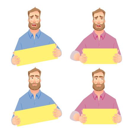 Crying businessman. Businessman holding blank sign. Set vector illustration. Loser