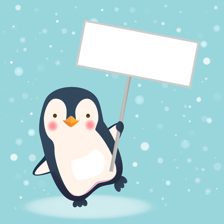 Penguin holding sign. Save Wildlife Protect World Concept Illustration