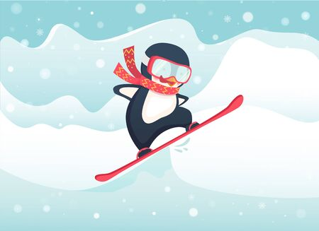 Penguin snowboarder at jump. Penguin cartoon illustration.