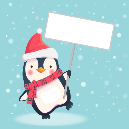 Cute Christmas penguin with Santa hat holding Christmas sign. Penguin cartoon vector illustration.