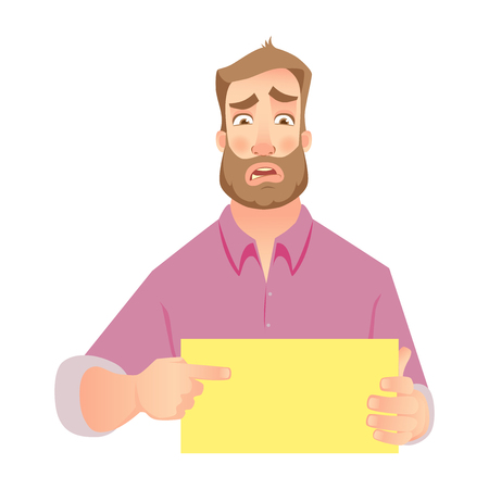 Man holding blank paper. Frustrated businessman points to banner. Vector illustration set Illustration