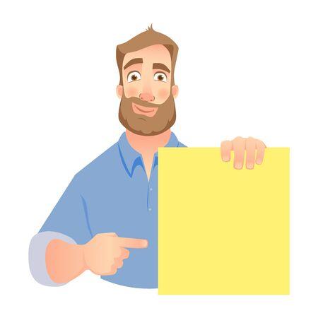 Man holding blank banner on white background.