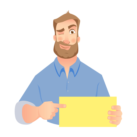 A man holding blank paper on white background. Illustration