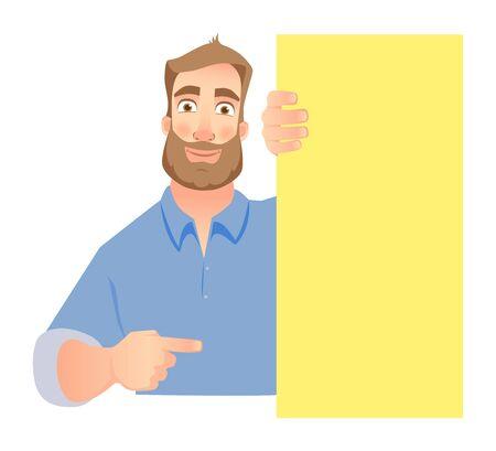 man holding blank signboard