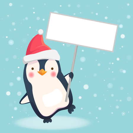 Penguin holding sign. Penguin cartoon vector illustration. Stock Vector - 95369592
