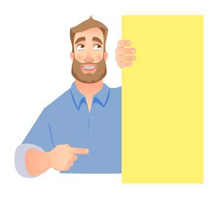 A man holding blank signboard Illustration