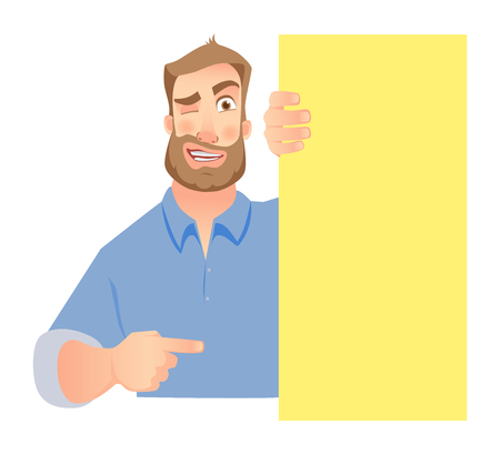 A man holding blank signboard isolated on white background. Illustration