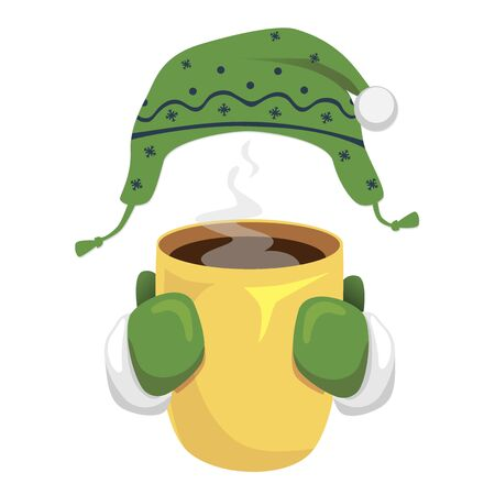 A cup of coffee with bonnet and mittens  isolated on white background.