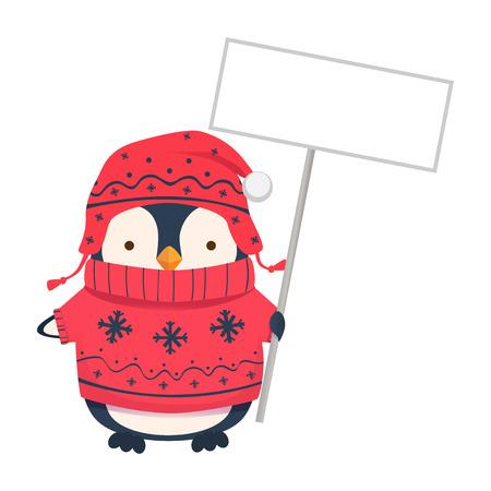 Penguin holding blank sign. Penguin cartoon vector illustration.
