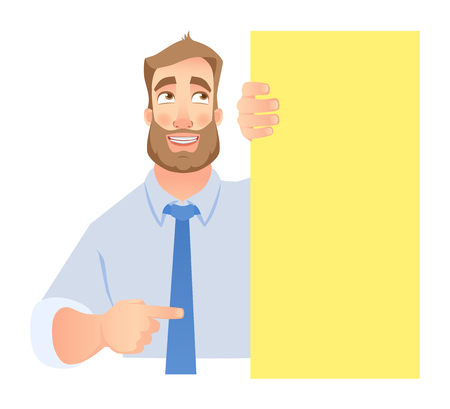 Businessman holding blank signboard. Shy businessman points to banner. Vector illustration set