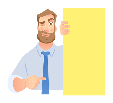 Businessman holding blank signboard. Winking businessman points to banner. Vector illustration set