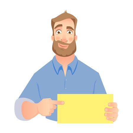 Man holding blank card. Smirking businessman pointing to card. Vector illustration set