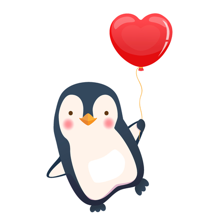 Penguin holding balloon. Cute animal vector illustration Çizim