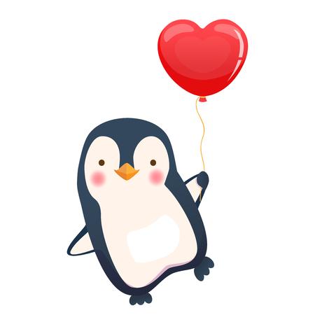 Penguin holding balloon. Cute animal vector illustration Stock Illustratie