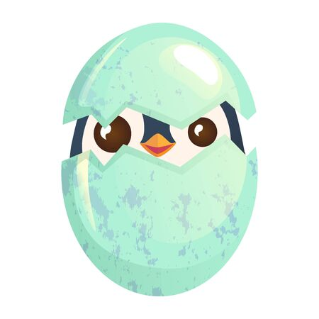 Egg hatching, cute Easter chick in eggshell vector illustration.