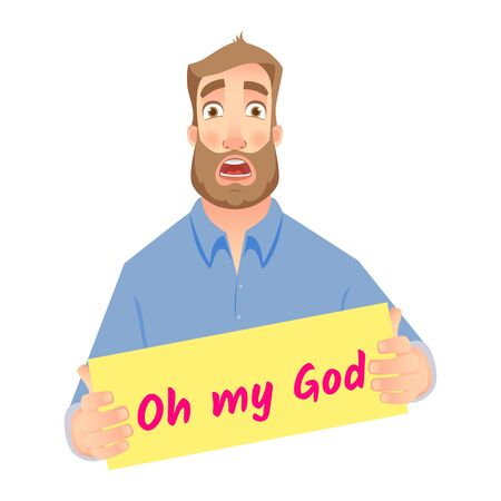 Man holding omg sign. Businessman says oh my god. Business communication icon